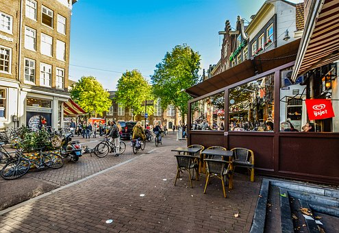 Amsterdam, Netherlands, Holland, Cafe, Sidewalk, Street