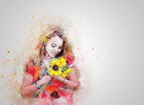 Girl, Sunflower, Happy, Hair, Art, Abstract, Fashion