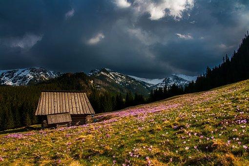 Mountains, Landscape, Log Cabin, Dark Clouds, Clouds