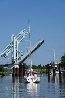 Bridge, Elbe, River, Ship, Water, Sailing Boat