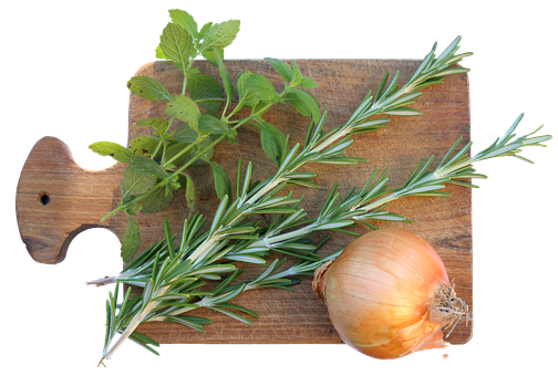Cutting Board, Spices, Rosemary, Onion
