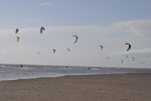 Kites, Beach, Wind, Sea, Flying, Activity, Seashore