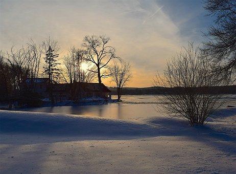 Tree, Silhouette, Sunset, Lake, Winter, Frozen, Nature