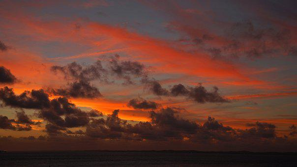 Sunset, Sky, Clouds, Abendstimmung, Coast, Sun, Evening