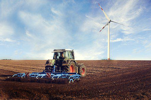 Agricultural Machine, Pinwheel, Field, Blue, Summer