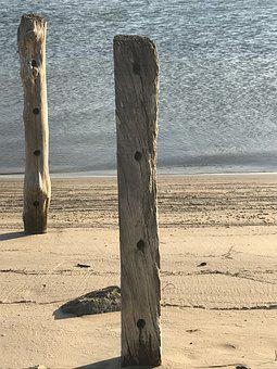 Water, Calm, Wood, Posts, Sand, Landscape, Tranquil