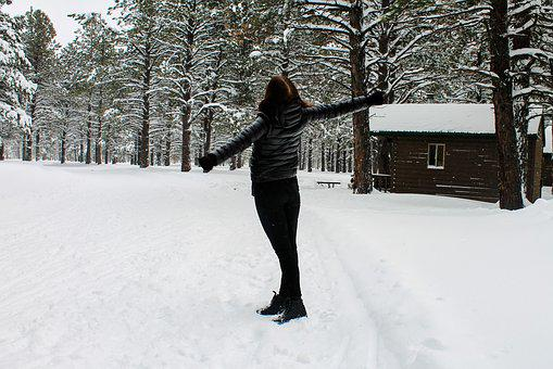 Snow, Forest, Girl, Winter, Cold, Christmas, Nature
