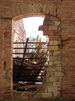 Window, Abandoned, Ruin, Bricks, Boarded Up, Roofing