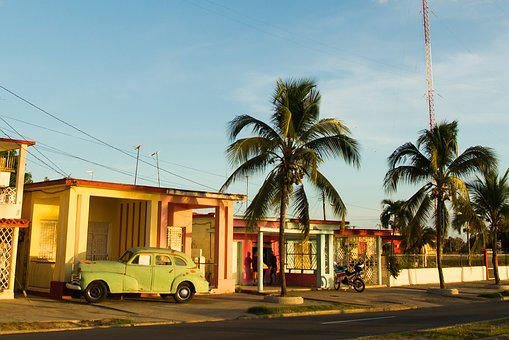 Cuba, Car, Palm, View, Retro, Tourism, Travel, Street