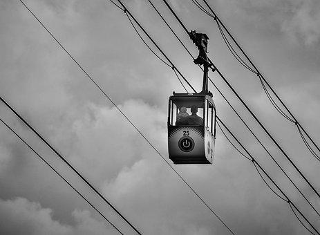 Cable Car, Man, Child, Sky, Black White, Contrast