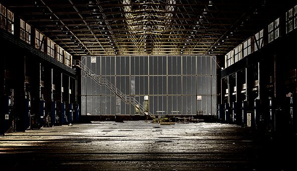Night, Light, Hall, Factory, Lost Places, Spotlight
