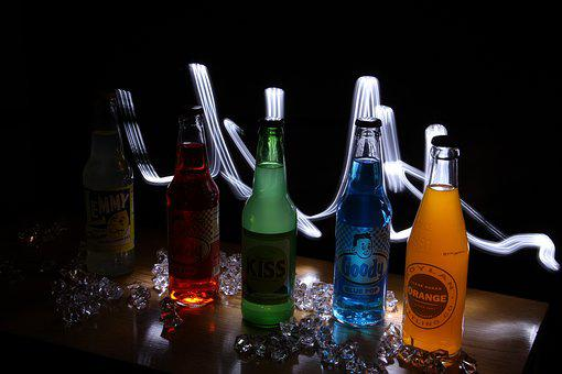 Light Painting, Soda Bottles, Glass