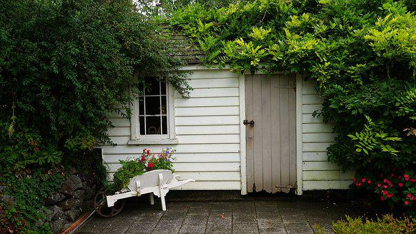 Hut, Green, Log Cabin, Wheelbarrow, Garden Shed