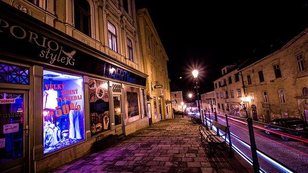 Street, City, Banská štiavnica, In The Evening