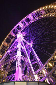 Night, City, Light, Ferris Wheel, Prater, Purple, Fair