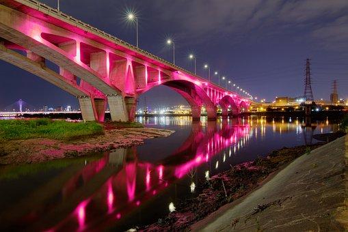 Bridge, River, Night