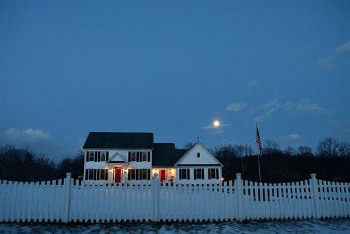 Moon, House, Picket Fence, Lights, Night Time, Evening