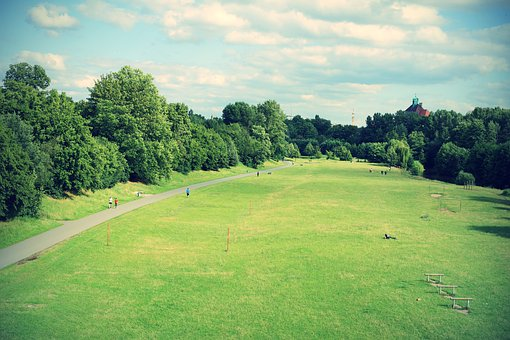 Nuremberg, City Park, Park, Meadow, Clouds, Trees