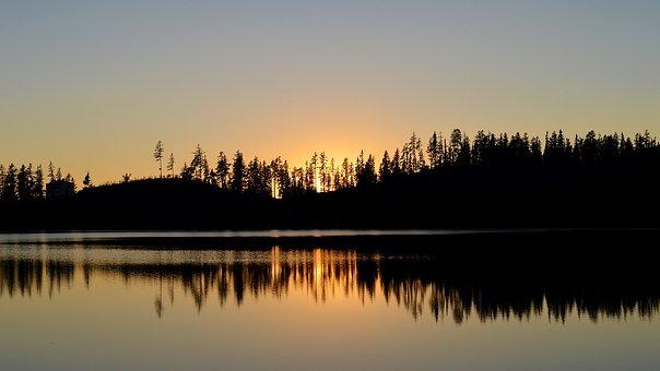 West, Sun, Sunset, Silhouettes, Lake, Pleso, Strba Tarn