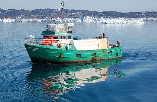 Fishing Boat, Floe, Reflection, Ilulissat, Greenland