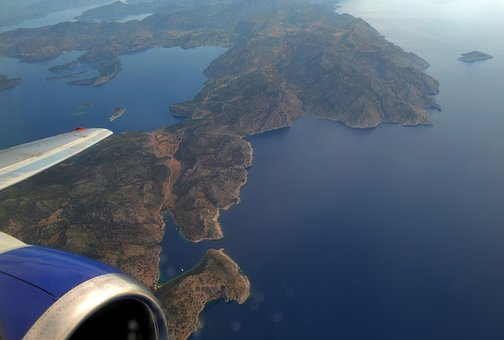 Sky, Plane, Top View, Beautiful, Island, Greece, Blue