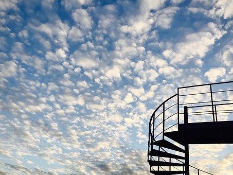 Sky, Sunset, Steps, Stairs, Escape, Sun, Sunrise