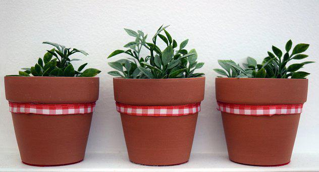 Plants Synthetic, Stoneware, Red Ribbon, Tiles, Three