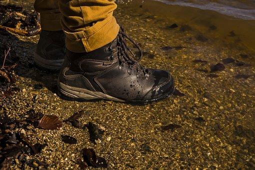 Hiking Shoes, Bank, Pond, Lake, Water, Nature, Waters