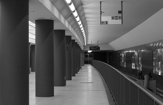 Metro, Berlin, B N, Black And White, Columns