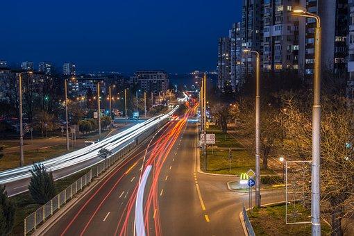 Traffic, Sunset, Burgas, Bulgaria, Travel, Road, Sky