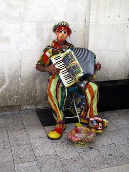 Street Musician, Clown, Accordion, Lifestyle