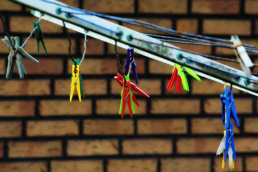 Clothespins, Clothes Line, Hang, Budget, Colorful