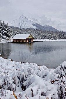 Cottage, Winter, Snow, Lake, Wooden, Remote, Wilderness