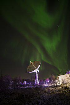 Antenna, Night, Northern Lights, Light, Winter, Norway