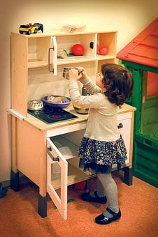 Girl, Playing, Toy, Kitchen, Enjoy, Childhood, Fun