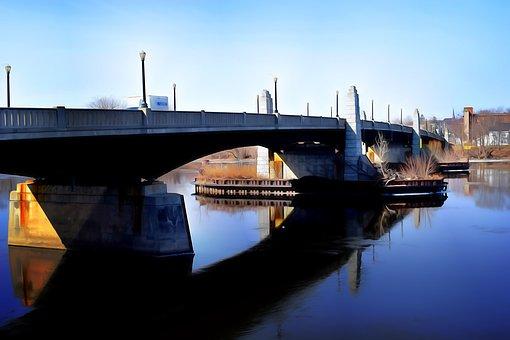 Bridge, River, Water, City, Reflection, Transportation