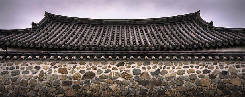 Roof Tile, Stone Wall, Hanok, Traditional, Pattern