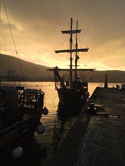 Sunset, Boat, Sailboat, Spring, Sailing Boat, Port
