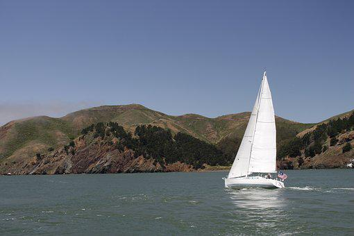 Sailing, California, Ocean, Sea, Boat, Sail, Sky, Water