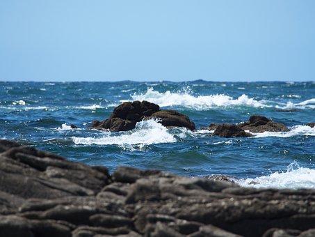 Water, Sea, Waves, Rocks, Background, Blue Sky, Nature