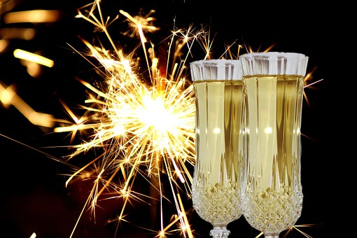 New Year's Eve, Champagne Glasses, Abut, Sparkler