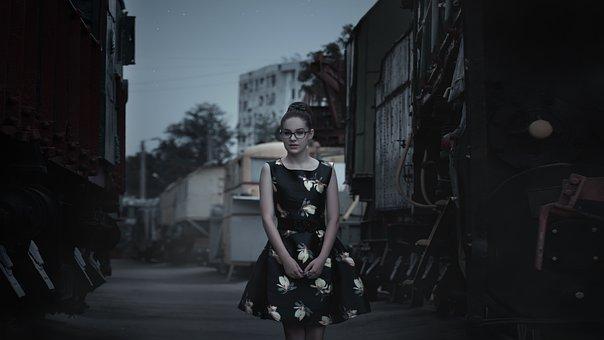Girl, Steam Locomotive, Train, Pin-up Girl, Dress