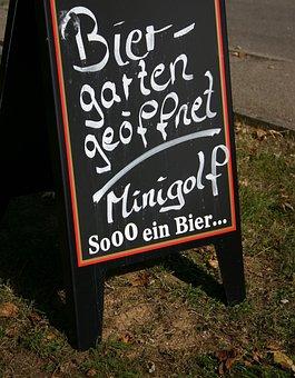 Beer Garden, Shield, Pub, Advertisement, Signs, Economy