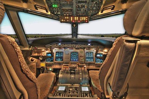 Cockpit, Plane, Airplane, Jet, Passenger, Pilot, Seats