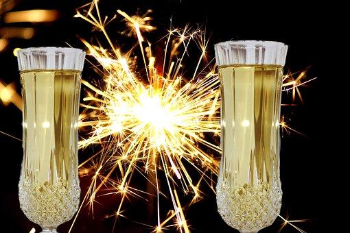 New Year's Eve, Champagne Glasses, Sparkler, Light