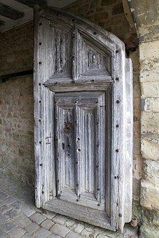 Medieval Oak Door, Iron Bolts, Judas Gate, Stonework