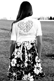 Model, Girl, Heart, Hair, Black, White, Portrait