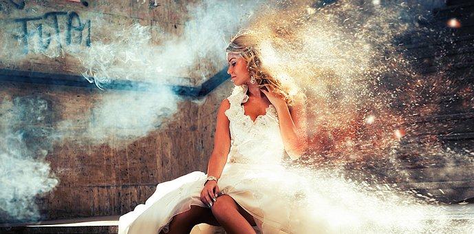 Bride, Smoke, Fog, Sparks, Stairs, Woman, Girl