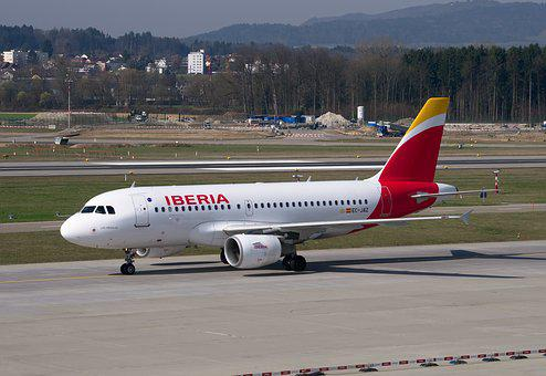 Aircraft, Iberia, Airbus, A319, Airport Zurich, Back