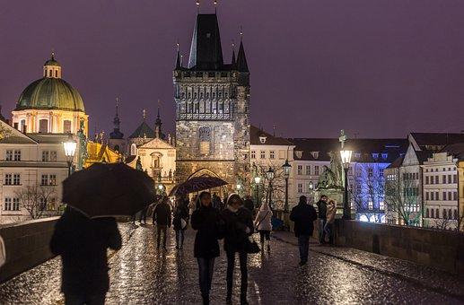 Prague, Bridge, Night, Lights, City, Tourists, Rain